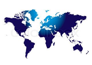 Überblick über die Welt-Masse in blau mit Licht auf der oberen Hälfte