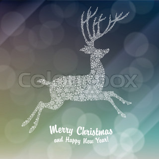 Christmas deer silhouette on glowing background. Vector