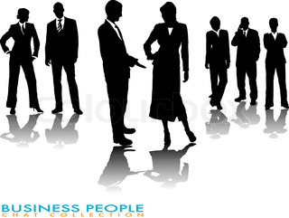 business people chatting in silhouette with a gradient shadow