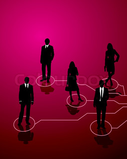 Five business people connected by lines of communication
