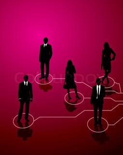 fünf Geschäftsleute, die Linien der Kommunikation