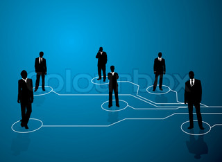 Business concept image showing links between people with a blue backround