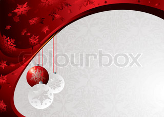 Classy christmas background with baubels and snowflakes in red
