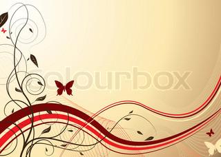 Floral inspirierten Hintergrund in Maroon und Creame mit Schmetterling