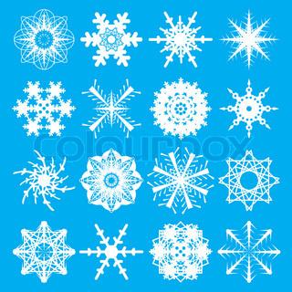 sammlung von schneeflocken in wei auf blauem hintergrund mit sechzehn variationen stock. Black Bedroom Furniture Sets. Home Design Ideas