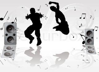 paar Jugendliche tanzen gegen einen Silber grauen Hintergrund