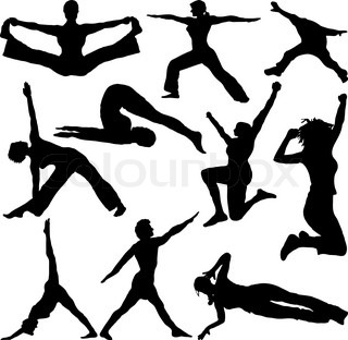 People doing work outs in silhouette ideal to place in your own artwork