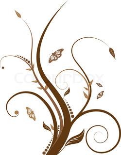 abstrakte Blumenmuster mit fließenden Linie in Brauntönen