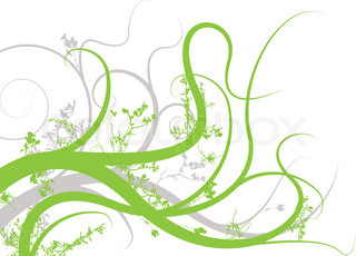 floral inspired background image in green and gray