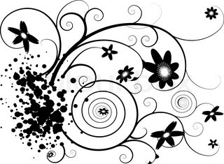 Abstract grunge floral design in black and white