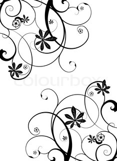 Gothic grunge floral design in black and white