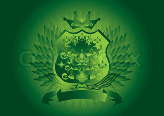 Historic shield type background in green with wings