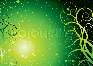 Abstract space background with a swirling floral theme