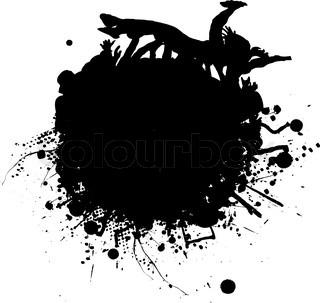 Tinte beize mit Menschen Crowd Surfen in schwarz und weiß