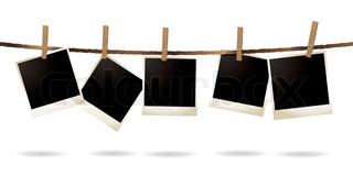 Collection of blank images hanging on a piece of string