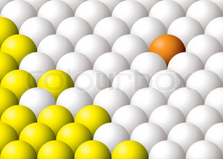 Odd one out illustrated colored ball abstract background