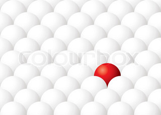 Illustration of being different with one red ball againt many white