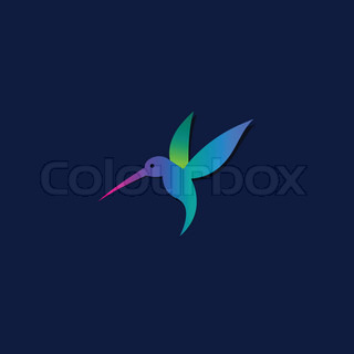 Flying hummingbird or logo template.