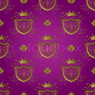 royal seamless repeat background design in purple and gold
