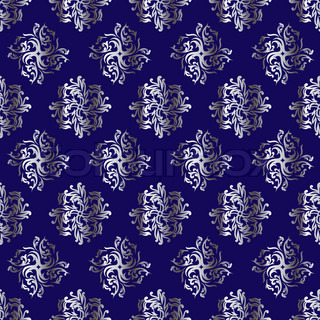 Royal Blue And Silver Repeating Design That Seamlessly Joins Background
