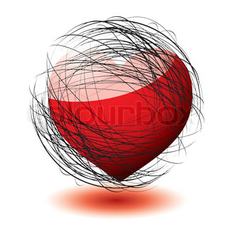 Abstract love heart concept with scribble ball and shadow