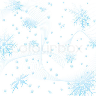 snowflake in a square tile with flowing lines in light blue