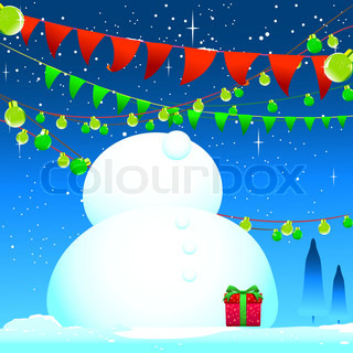 Celebrate winter season Snow man and blue background