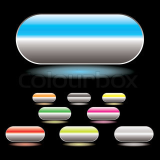 Collection of gel filled buttons with glowing drop shadow and black background