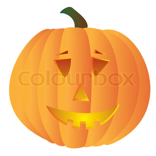 Illustration of a spooky orange pumpkin with face