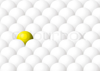 Illustration of being different with one yellow ball against many white