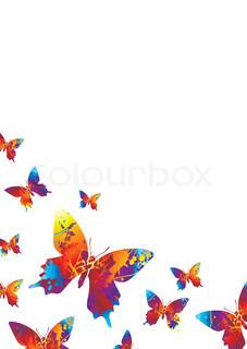 Vektor af 'sommerfugle, sommerfugl, blomst'