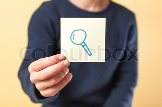 Picture icon magnifier in hand