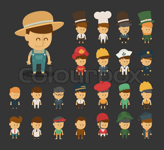 Group of professions cartoon characters