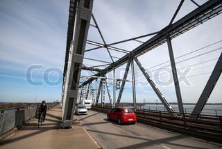 Traffic on old steel bridge