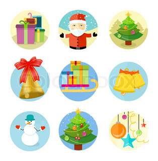 Set of 9 christmas icons on white background