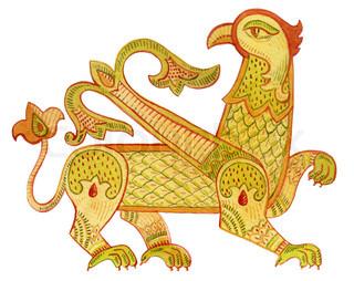 Watercolor Heraldic Griffin