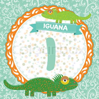 ABC animals I is iguana. Childrens english alphabet. Vector