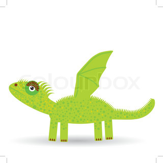 Cartoon illustration of a dragon on a white background.