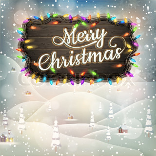Christmas Vintage landscape with Signboard. EPS 10