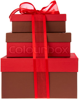 Three Red and Brown Presents with Red Ribbon and Bow