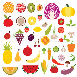 Freehand Drawing Fruit And Vegetables Stock Vector Colourbox