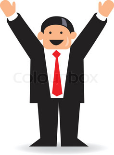 happy funny businessman jumping in the air stock vector colourbox
