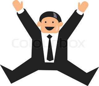 Happy funny businessman jumping in the air