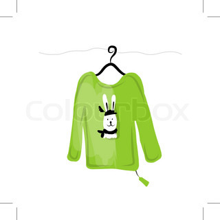 Sweater on hangers with funny rabbit design