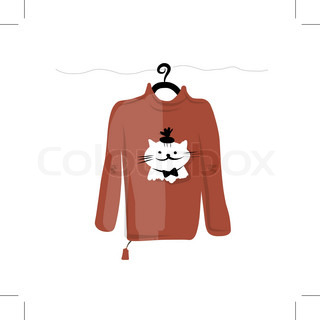 Sweater on hangers with funny cat design
