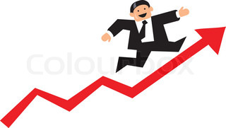 Funny businessman running up a red business graph arrow