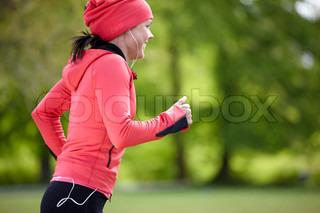 Bild von 'joggen, frau, musik'