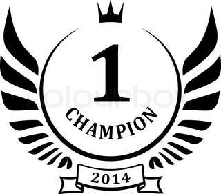 Champion design with wings and crown