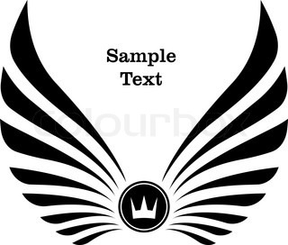 Heraldic design with wings. crown and copyspace for text