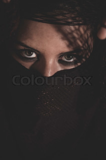 arab woman in traditional Islamic veil, burka, beautiful and deep look
